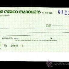 Documentos bancarios: CAJA CREDITO GRANOLLERS - TALÓN CHEQUE BANCARIO COLECCIONISMO BANCARIO. Lote 39142709