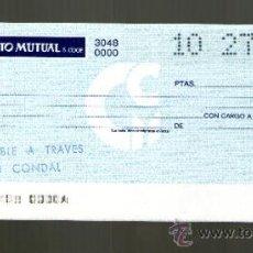 Documentos bancarios: CAJA CREDITO MUTUAL BANCO CONDAL - TALÓN CHEQUE BANCARIO COLECCIONISMO BANCARIO. Lote 39142727