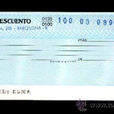 Documentos bancarios: BANCO DE DESCUENTO - TALÓN CHEQUE BANCARIO COLECCIONISMO BANCARIO. Lote 39142744