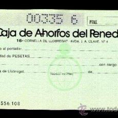 Documentos bancarios: CAJA DE AHORROS DEL PENEDES - TALÓN CHEQUE BANCARIO COLECCIONISMO BANCARIO. Lote 39163130