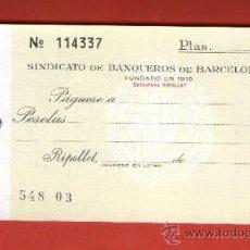 Documentos bancarios: SINDICATO DE BANQUEROS DE BARCELONA - TALÓN CHEQUE BANCARIO COLECCIONISMO BANCARIO. Lote 39163187