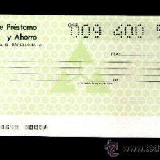 Documentos bancarios: BANCO DE PRESTAMO Y AHORRO AHORROBANK - TALÓN CHEQUE BANCARIO COLECCIONISMO BANCARIO. Lote 39163287