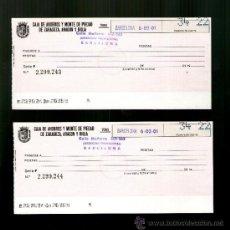 Documentos bancarios: CAJA AHORROS MONTE PIEDAD ZARAGOZA ARAGON Y RIOJA PAREJA CORRELATIVA - TALÓN CHEQUE BANCARIO . Lote 39163508