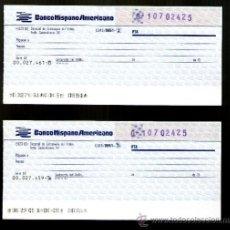 Documentos bancarios: BANCO HISPANO AMERICANO 2 TALONES SERIE CX - TALÓN CHEQUE BANCARIO COLECCIONISMO BANCARIO. Lote 39163623