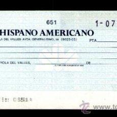 Documentos bancarios: BANCO HISPANO AMERICANO - TALÓN CHEQUE BANCARIO COLECCIONISMO BANCARIO. Lote 39163638