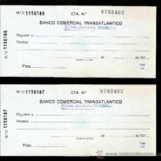 Documentos bancarios: BANCO COMERCIAL TRANSATLANTICO PAREJA SERIE NUMERACIÓN CORRELATIVA - TALÓN CHEQUE BANCARIO. Lote 39163719