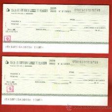 Documentos bancarios: CAJA AHORROS MONTE PIEDAD DE MADRID PAREJA SERIE NUMERACIÓN CORRELATIVA - TALÓN CHEQUE BANCARIO. Lote 39163758