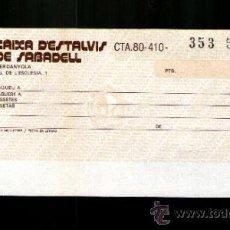 Documentos bancarios: CAIXA ESTALVIS DE SABADELL FORMATO PEQUEÑO - TALÓN CHEQUE BANCARIO COLECCIONISMO BANCARIO . Lote 39163878