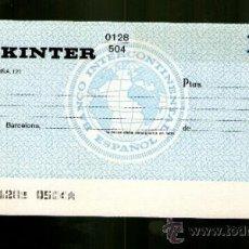 Documentos bancarios: BANCOTRANS LOGO BOLA MUNDO - TALÓN CHEQUE BANCARIO COLECCIONISMO BANCARIO. Lote 39164012