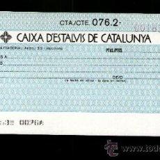 Documentos bancarios: CAIXA ESTALVIS CATALUNYA - TALÓN CHEQUE BANCARIO COLECCIONISMO BANCARIO. Lote 39164055
