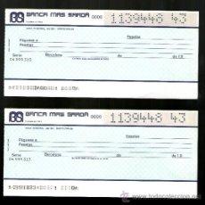 Documentos bancarios: BANCA MAS SARDA PAREJA SERIE NUMERACIÓN CORRELATIVA - TALÓN CHEQUE BANCARIO. Lote 39164108