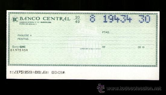 Bancario Banco Central Talón Cheque Coleccionismo ZiwuTkOPX