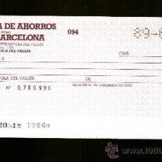 Documentos bancarios: CAJA DE AHORROS Y MONTE DE PIEDAD DE BARCELONA -TALON CHEQUE BANCARIO COLECCIONISMO BANCARIO. Lote 39164723