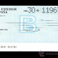 Documentos bancarios: BANCO EXTERIOR DE ESPAÑA - TALON CHEQUE BANCARIO COLECCIONISMO BANCARIO. Lote 39167624