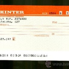 Documentos bancarios: BANKINTER BANCO INTERCONTINENTAL ESPAÑOL - TALON CHEQUE BANCARIO COLECCIONISMO BANCARIO. Lote 39167671