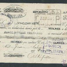 Documentos bancarios: LETRA DE CAMBIO CLASE 12 AÑO 1926 BANCO HISPANO AMERICANO, CLEMENTE MASSANA CON SELLO. Lote 27057055