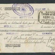 Documentos bancarios: LETRA DE CAMBIO AÑO 1927 CLASE 12 ENRIQUE GISPERT BARCELONA BANCO HISPANO AMERICANO. Lote 40106252