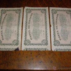 Documentos bancarios: LOTE DE 3 - PAPEL DE FIANZAS - DIFERENTES VALORES Y FECHAS.. Lote 40257305