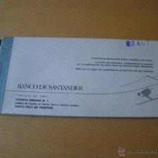 Documentos bancarios: TALONARIO CHEQUES AÑOS 70 BANCO DE SANTANDER. Lote 40791631