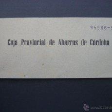 Documentos bancarios: TALONARIO CAJA PROVINCIAL DE AHORROS DE CORDOBA. Lote 40973833