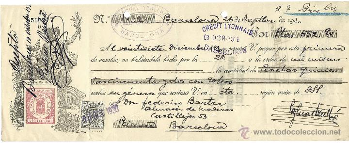LETRA DE CAMBIO, BARCELONA 1930, (Coleccionismo - Documentos - Documentos Bancarios)
