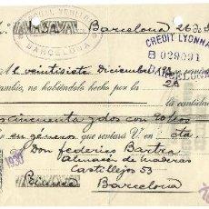Documentos bancarios: LETRA DE CAMBIO, BARCELONA 1930, . Lote 41297822