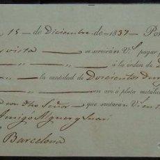 Documentos bancarios: LETRA DE CAMBIO EMITIDA EN VALENCIA (1837). Lote 41351628
