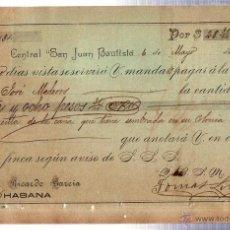 Documentos bancarios: INGENIO AZUCARERO. CENTRAL SAN JUAN BAUTISTA. 1895. PAGARÉ. PESOS ORO. CAÑA DE AZUCAR.. Lote 41634574