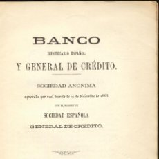 Documentos bancarios: ESTATUTOS Y REGLAMENTO BANCO HIPOTECARIO ESPAÑOL- MADRID 1863. Lote 41669704