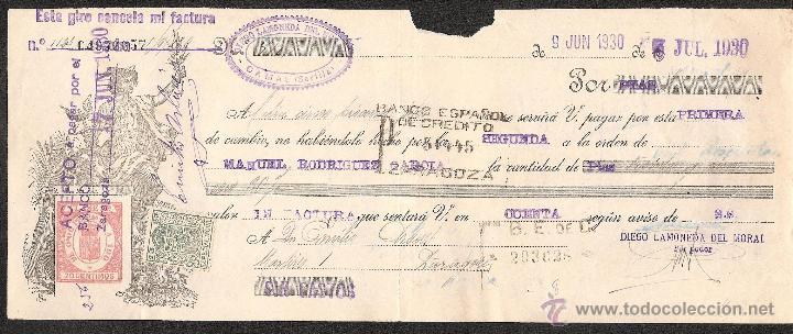 LETRA DE CAMBIO LIBRADA POR DIEGO LAMONEDA DE CAMAS-SEVILLA AÑO 1930 (Coleccionismo - Documentos - Documentos Bancarios)