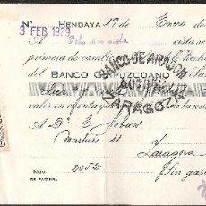 Documentos bancarios: LETRA DE CAMBIO PRIVADA LIBRADA POR TRANSP.MITJAVILE DE HENDAYA-HENDAIA AÑO 1929. Lote 41771198