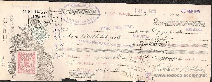 LETRA DE CAMBIO LIBRADA POR RAFAEL ROLDAN DE EL PALO-MALAGA AÑO 1929 (Coleccionismo - Documentos - Documentos Bancarios)
