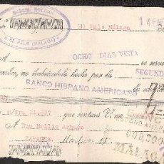 Documentos bancarios: LETRA DE CAMBIO LIBRADA POR RAFAEL ROLDAN DE EL PALO-MALAGA AÑO 1929. Lote 41771692