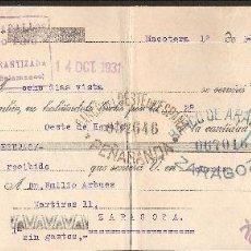 Documentos bancarios: LETRA DE CAMBIO LIBRADA POR BAUTISTA ZABALLOS DE MACOTERA-SALAMANCA AÑO 1931. Lote 41771904