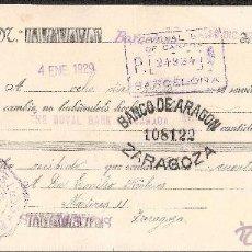 Documentos bancarios: LETRA DE CAMBIO LIBRADA POR RUBIRAS Y HORTET DE BARCELONA AÑO 1928 CON TIMBRE MOVIL. Lote 41772157
