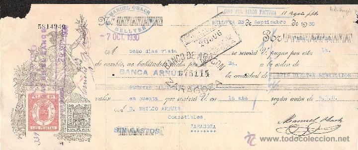 LETRA DE CAMBIO LIBRADA POR MANUEL OBACH DE BELLVER AÑO 1930 (Coleccionismo - Documentos - Documentos Bancarios)