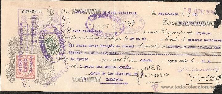 LETRA DE CAMBIO LIBRADA POR HEREDEROS MARQUES DE RISCAL DE ELCIEGO-ALAVA AÑO 1930 (Coleccionismo - Documentos - Documentos Bancarios)