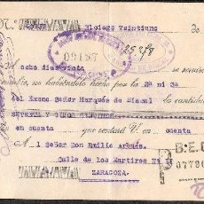 Documentos bancarios: LETRA DE CAMBIO LIBRADA POR HEREDEROS MARQUES DE RISCAL DE ELCIEGO-ALAVA AÑO 1930. Lote 41772598