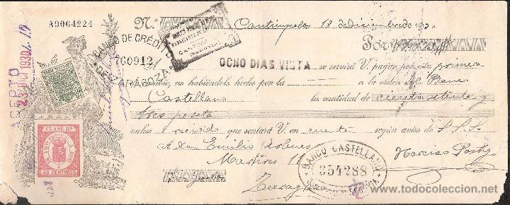 LETRA DE CAMBIO LIBRADA POR NARCISO POSTIGO DE CANTIMPALOS-SEGOVIA- AÑO 1930 (Coleccionismo - Documentos - Documentos Bancarios)