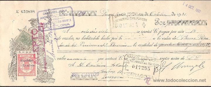 LETRA DE CAMBIO LIBRADA POR CAMIONES ANTONIO URRUZOLA DE PAMPLONA AÑO 1931 (Coleccionismo - Documentos - Documentos Bancarios)