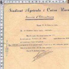 Documentos bancarios: DOCUMENTO ORDEN DE COBRO-SINDICATO AGRICOLA Y CAIXA RURAL-VERDÚ 1935.. Lote 42161670