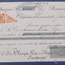Documentos bancarios: CHEQUE. SANDOMINGO HERMANOS Y CASARIEGO, ORTIGUEIRA, 1914.. Lote 42269749