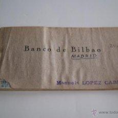 Documentos bancarios: TALONARIO CHEQUES BANCO DE BILBAO 1941. Lote 106647212