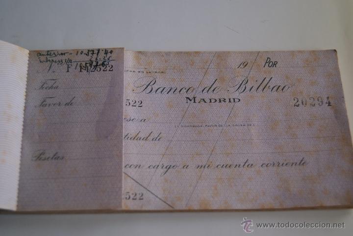 Documentos bancarios: Talonario cheques Banco de Bilbao 1941 - Foto 4 - 106647212