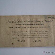 Documentos bancarios: ANTIGUO TALONARIO DE CHEQUES DEL ¨BANCO DE LONDRES Y AMERICA DEL SUR LIMITADO¨ 1945. Lote 254650380