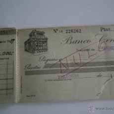 Documentos bancarios: ANTIGUO TALONARIO DE CHEQUES BANCO CENTRAL 1959. Lote 42481927