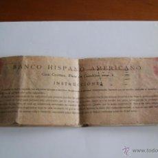 Documentos bancarios: MUY ANTIGUO TALONARIO DE CHEQUES DEL ¨BANCO HISPANO AMERICANO¨ 1933/4. Lote 106647172