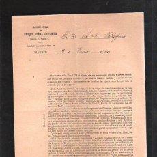 Documentos bancarios: AGENCIA ENRIQUE REÑINA CASTANERA. MADRID. 1895. OFRECIMIENTO DE ASUSTOS BANCARIOS PARA ULTRAMAR. Lote 42752187