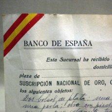 Documentos bancários: DOCUMENTO, BANCO DE ESPAÑA, SUSCRIPCION NACIONAL DE ORO, 1939. Lote 42838925