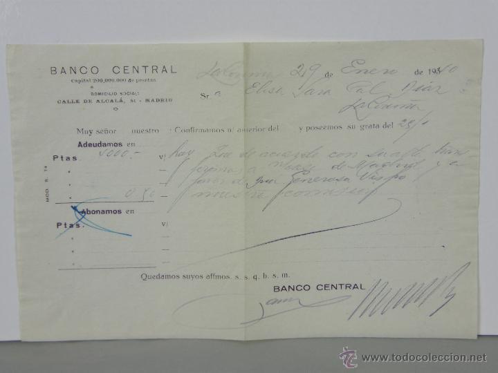 RESGUARDO BANCO CENTRAL ALCALÁ 51 MADRID 4000 PESETAS ENERO 1940 ABONO EN CUENTA (Coleccionismo - Documentos - Documentos Bancarios)